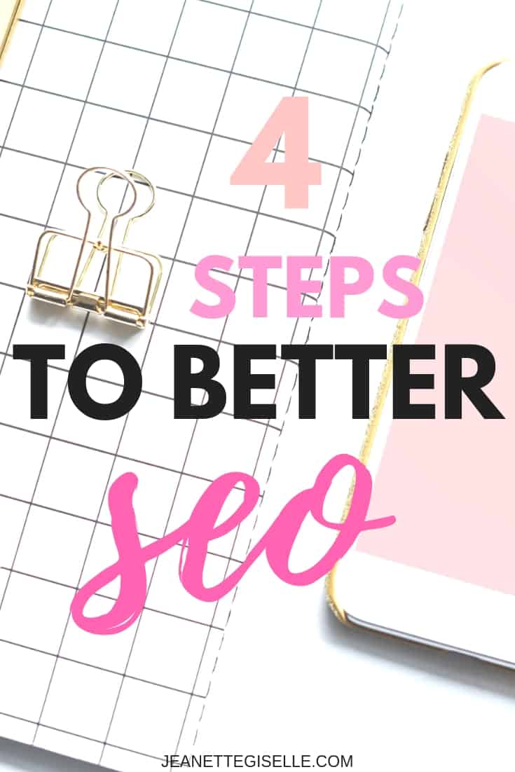 4 Easy Steps to SEO for blog posts! Don't let your Wordpress blog suffer by not implementing SEO. Read this post to start using SEO today! | Blogging for Beginners Wordpress